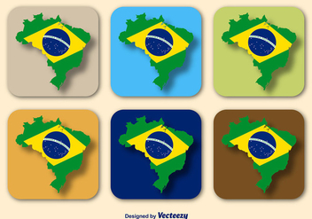 Brazil Flag and Map Vectors - Kostenloses vector #357381