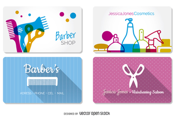Hairdressing and barber shop business cards mockups - Free vector #357431