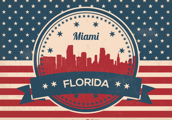 Miami Florida Skyline Illustration - бесплатный vector #357521