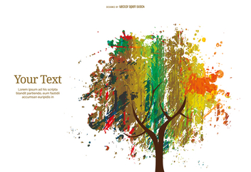 Colorful abstract ink and crayon tree - Free vector #357861