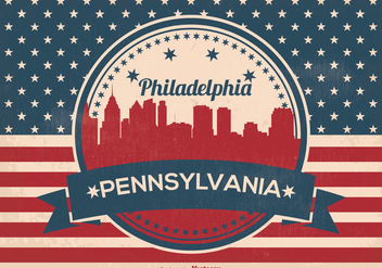 Retro Philadelphia Vector Skyline Illustration - бесплатный vector #357981