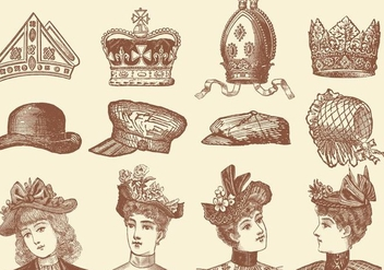 Hats And Crown Vectors - vector gratuit #358181