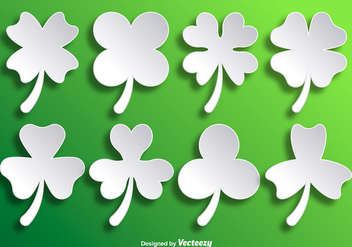 Paper White Vector Clovers - vector gratuit #358261