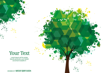 Hexagons and ink stains tree - Free vector #358301