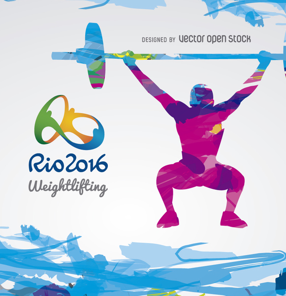 Olympics Rio 2016 - Weightlifting design - vector gratuit #358311
