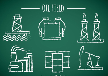 Oil Field Element Chalk Draw Icons - Free vector #358371