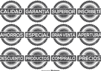 Distressed Spanish Promotional Label Set - бесплатный vector #358401