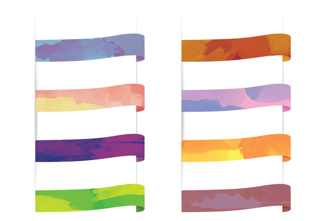 Vector Watercolor Ribbons - vector gratuit #358411
