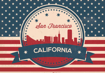 Retro Style San Francisco Skyline Illustration - Free vector #358461
