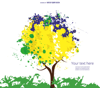 Yellow, blue and green tree - vector gratuit #358481