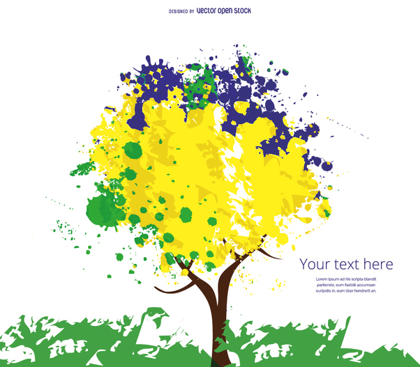 Yellow, blue and green tree - vector #358481 gratis