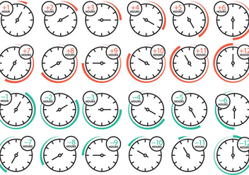 Time Zone Clock Icons - Kostenloses vector #358581
