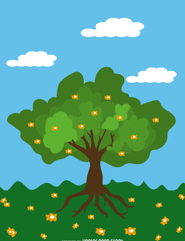 Cartoon Spring tree over blue sky - бесплатный vector #358731