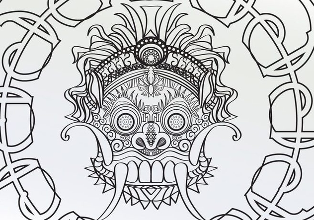 Coloring Adult Barong Page Vector - Free vector #358771