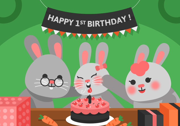 Vector First Birthday Rabbit - Free vector #358831