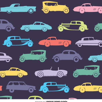 Retro car pattern in dark tones - Free vector #359071