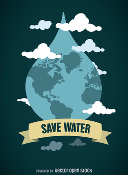 World Water Day - World in drop with emblem - Free vector #359081