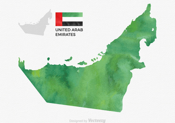 Free Vector Watercolor UAE Map - Kostenloses vector #359271
