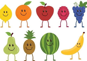 Free Fruit Characters Vectors - бесплатный vector #359331
