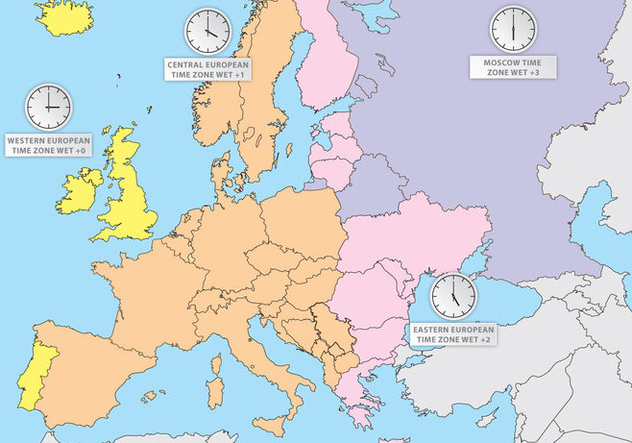 Time Zones Of Europe Europe Map Vector - vector gratuit #359411