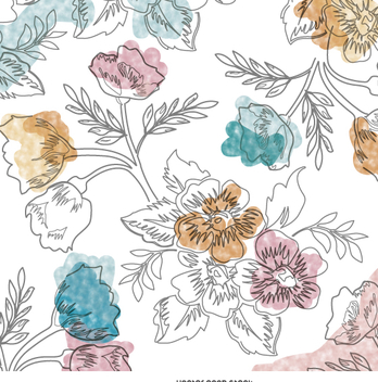 Watercolor hand-drawn floral wallpaper - бесплатный vector #359421