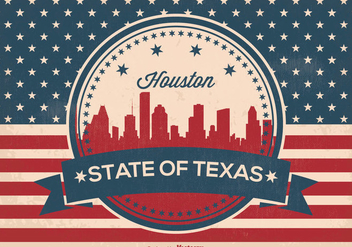 Retro Style Houston Skyline Illustration - Free vector #359521