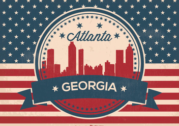 Retro Atlanta Georgia Skyline Illustration - Free vector #359621