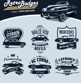 6 Retro Badges Cars - vector #359701 gratis
