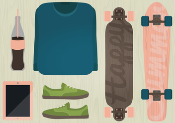 Vector Longboard Illustration - Free vector #359791