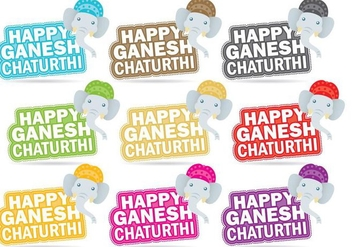 Happy Ganesh Chaturthi Titles - Free vector #360101