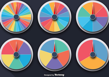 Vector Colorful Wheels Of Fortune Set - Free vector #360651