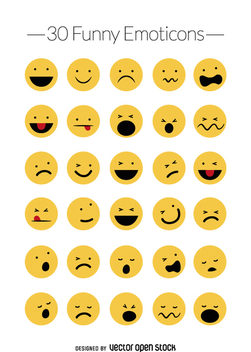 Funny emoticons vector set - vector gratuit #360761