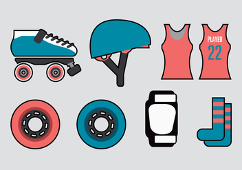 Roller Derby Vector Elements - Kostenloses vector #360871