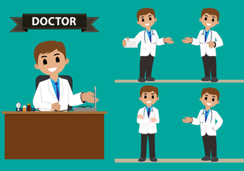 Male Doctor Character Vector Set - vector gratuit #360901