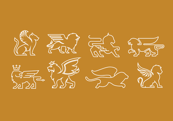 Winged Lions Pack - vector gratuit #361011