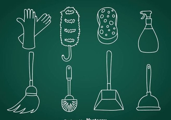 Home Cleaning Doodle Vector Icons - Free vector #361041