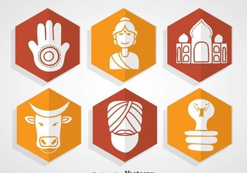 Indian Culture Icons - vector #361071 gratis