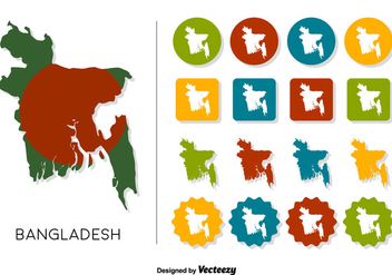 Vector Bangladesh Map With Bangladesh Flag And Icons set - Free vector #361121