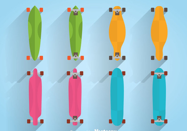 Colorful Longboard Vector - Free vector #361141