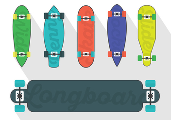 Vector Set Of Longboard Illustrations - vector gratuit #361251