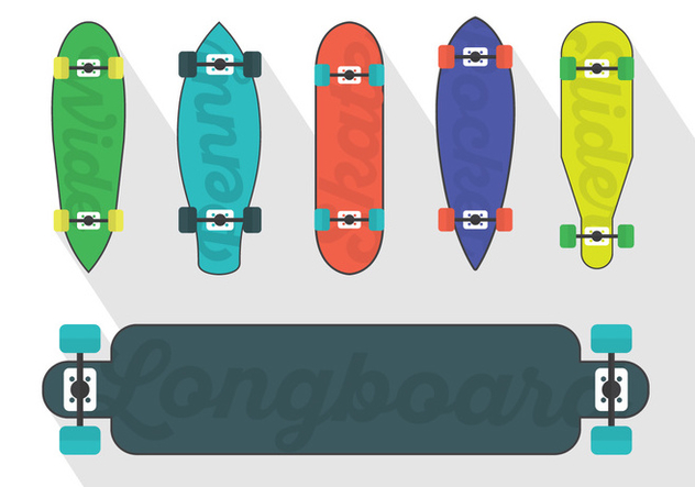 Vector Set Of Longboard Illustrations - Free vector #361251