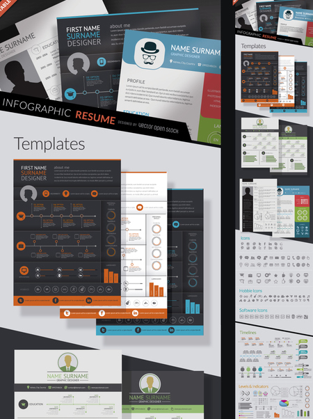 Infographic resume kit - бесплатный vector #361421