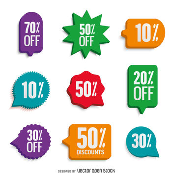 Colorful offer stickers set - vector #361441 gratis