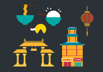 China Town Vector Elements - vector gratuit #361541