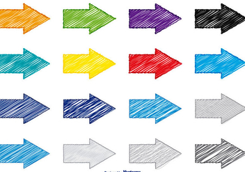 Colorful Scribble Style Arrow Set - vector gratuit #361571