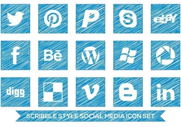 Scribble Style Social Media Icon Set - Kostenloses vector #361661