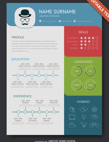 Modern Resume Mockup Free Vector Download 361711 Cannypic