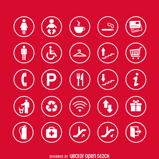 Service signs icon set - vector gratuit #361721