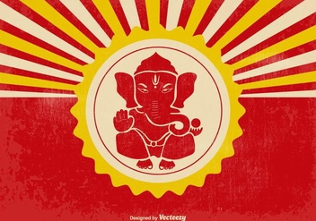 Retro Ganpati Illustration - vector gratuit #361801