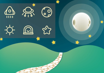 Free Stone Path and Galaxy Vector - Kostenloses vector #361861